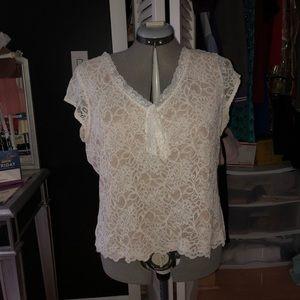 White lace v neck blouse tie sleeveless